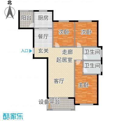 海洋城144.00㎡E1户型 1-9层户型3室2厅2卫