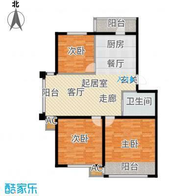 大树花园101.00㎡N2 户型3室2厅1卫