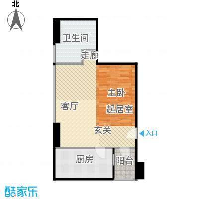 地铁新都汇62.00㎡E户型 一室一厅一卫户型1室1厅1卫