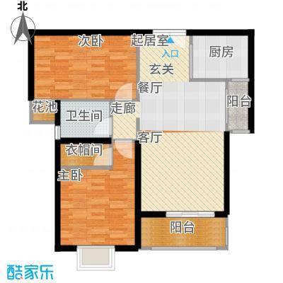 高新vv时代88.00㎡D户型 两室两厅一卫户型2室2厅1卫