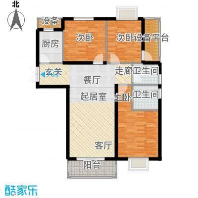 高新vv时代110.80㎡B户型 三室两厅两卫户型3室2厅2卫
