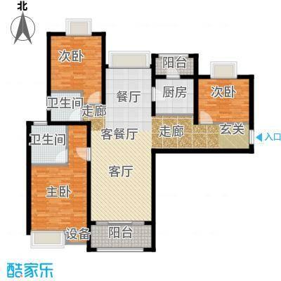扬州国际公馆128.00㎡二期蓝山C1户型――华尔街户型3室2厅2卫