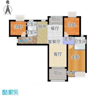 扬州国际公馆109.00㎡二期蓝山B3户型――时尚坊户型3室2厅2卫