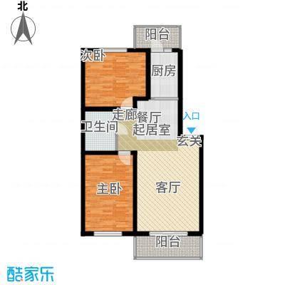 联通名苑98.46㎡F单元平面图户型2室1厅1卫