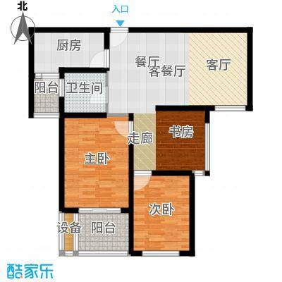 扬州国际公馆C两居室户型2室1厅1卫1厨