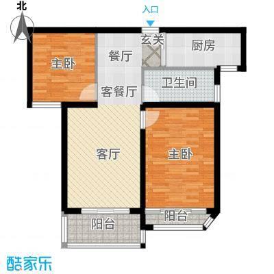 扬州国际公馆A两居室户型2室1厅1卫1厨
