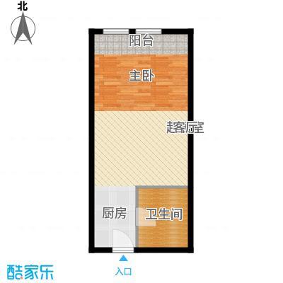 中海御湖翰苑B户型 46.38-48.38平米户型
