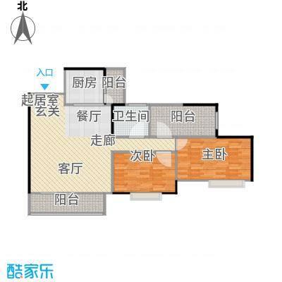 南沙星河丹堤90.00㎡高层洋房C户型2室1卫1厨