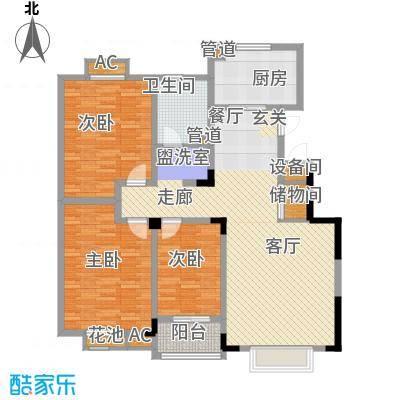 天业盛世龙城123.00㎡三室两厅一卫户型3室2厅1卫