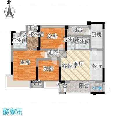 保利国际城105.87㎡翡丽湾H2′户型3室2厅2卫