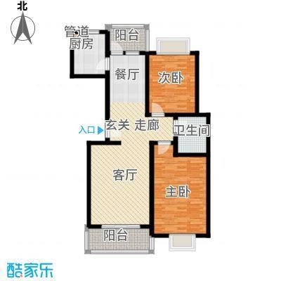 天业盛世龙城95.00㎡两室两厅一卫户型2室2厅1卫