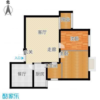 胜中尚东水润95.00㎡A户型 两室两厅一卫户型2室2厅1卫