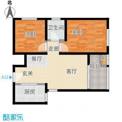 香榭水岸B户型64平米两室两厅一卫户型LL