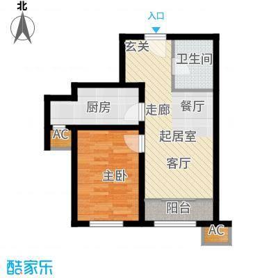 经纬城市绿洲武清二期67.00㎡高层B3\'户型1室1厅1卫