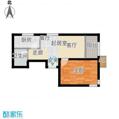经纬城市绿洲武清二期60.00㎡高层B1\'户型1室1厅1卫