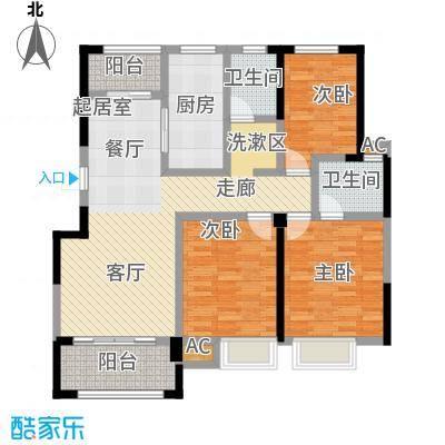 星海湾1号124.00㎡3#C户型 建筑面积约124㎡ 三房两厅两卫两阳台户型3室2厅2卫