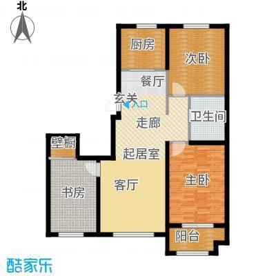 紫金湾110.33㎡二期C2户型3室2厅1卫