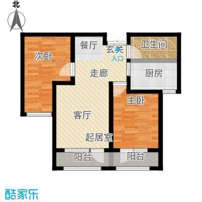 伸马托斯卡纳G户型 使用面积63.87平米户型2室2厅1卫