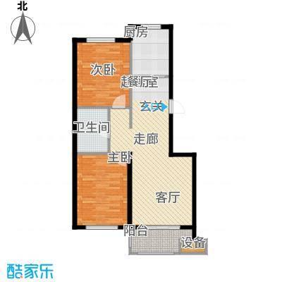 紫金湾88.82㎡A户型2室1厅1卫
