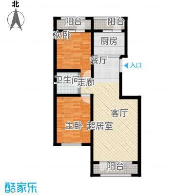 伸马托斯卡纳F户型 使用面积84.22平米户型2室2厅1卫