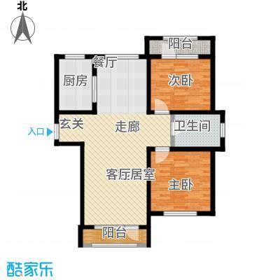伸马托斯卡纳B户型 使用面积87.37平米户型2室2厅1卫