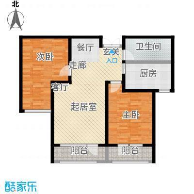 伸马托斯卡纳100.16㎡G户型 两室两厅一卫 使用面积63.87平方米户型2室2厅1卫