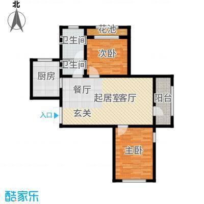 伸马托斯卡纳86.64㎡E户型 两室两厅一卫 使用面积55.43平方米户型2室2厅1卫