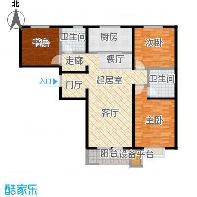 润达万科金域蓝湾117.00㎡二期E户型 3室2厅2卫117平户型3室2厅2卫