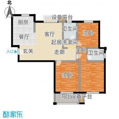 水岸豪庭东苑135.00㎡朗阔三房户型3室1厅2卫