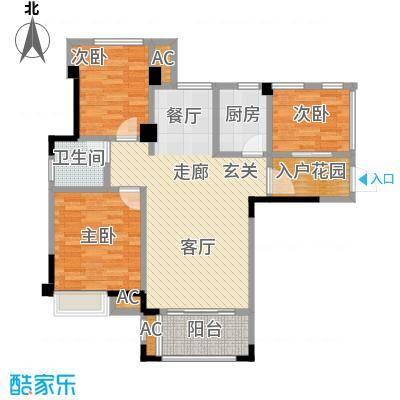 禹洲城上城3、4号楼04单元二房半房二厅,约88㎡户型2室2厅