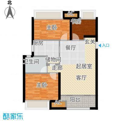 万科金色里程5号楼等标准面积:90.00m2户型3室2厅-T