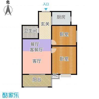 天玺国际95.00㎡95平米两室两厅一厨一卫户型