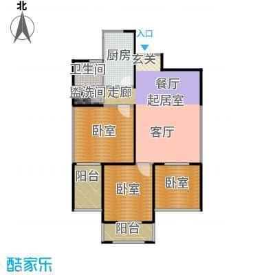 天玺国际91.00㎡91平米两室两厅一厨一卫户型