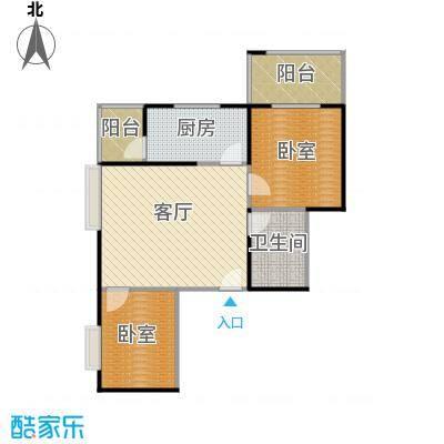 天玺国际70.00㎡70平米两室两厅一厨一卫户型