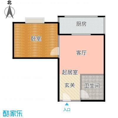 天玺国际51.00㎡51平米1室1厅1厨1卫户型