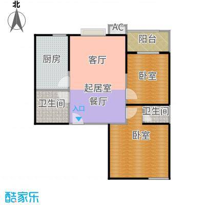 天玺国际82.00㎡82平米两室两厅一卫户型