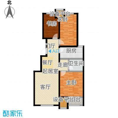 润达万科金域蓝湾99.00㎡B户型 三房两厅两卫 约99平米户型3室2厅2卫