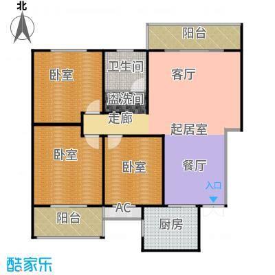 天玺国际119.00㎡119平米三室两厅一卫户型