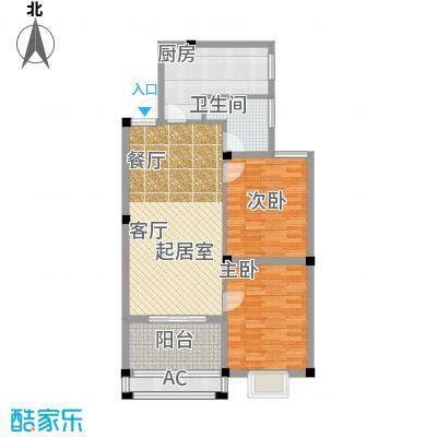 香江滨江园H5户型 二室一厅一卫 87.5平米户型2室1厅1卫