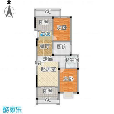 香江滨江园H3户型 二室二厅一卫 101平米户型2室2厅1卫