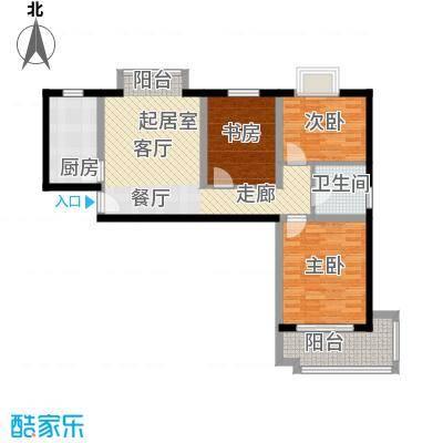 紫金时代广场104.81㎡B户型三房二厅一卫104.81平方户型3室2厅1卫