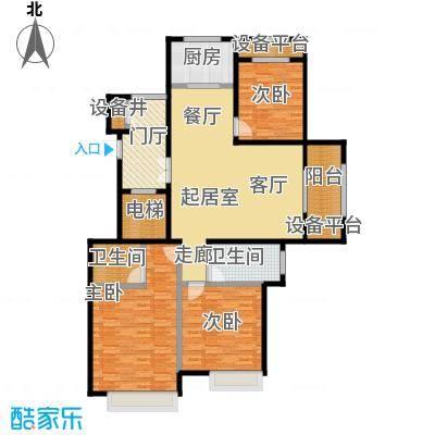 融信新新家园142.00㎡F户型 三室二厅二卫户型3室2厅2卫