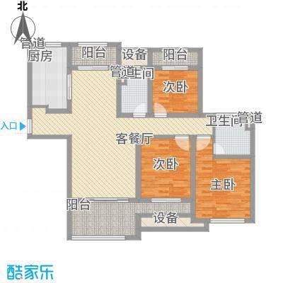 星光耀广场B2户型三房两厅两卫 建筑面积约140㎡户型