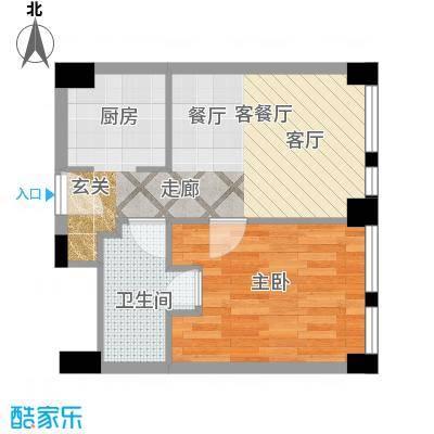 天津科技广场66.00㎡户型B1 一室一厅一卫户型1室1厅1卫