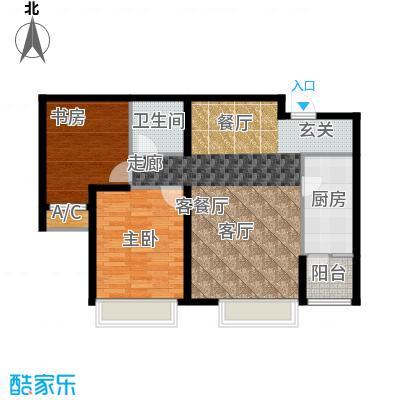 曦城花语83.50㎡高层户型2室2厅1卫X