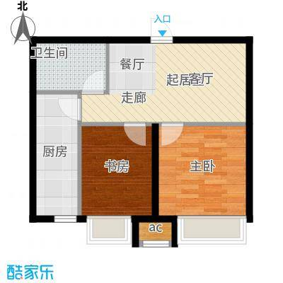 御景西城63.45㎡F户型 两室两厅一卫户型2室2厅1卫