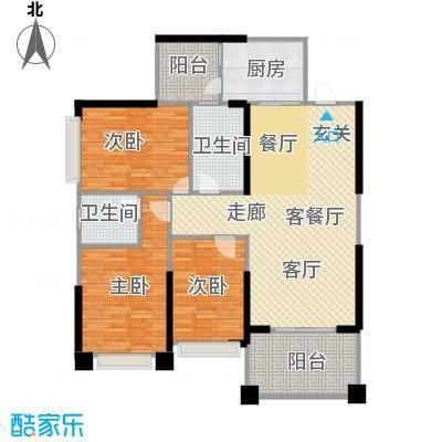 敏捷绿湖国际城109.00㎡2、4、8、15栋02单位户型3室2厅2卫