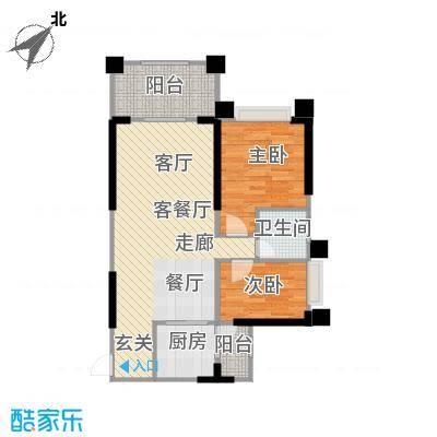 敏捷绿湖国际城84.00㎡1、3、7、14栋05单元户型2室2厅1卫