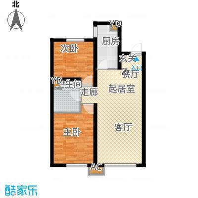 中铁万科香湖盛景85.00㎡两室两厅一卫户型2室2厅1卫QQ