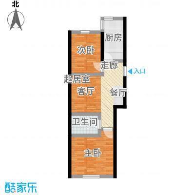 景城时代66.63㎡GD户型 二室一厅一卫户型2室1厅1卫